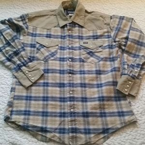 Wrangler Large Plaid Beige Blue Snap LS Shirt